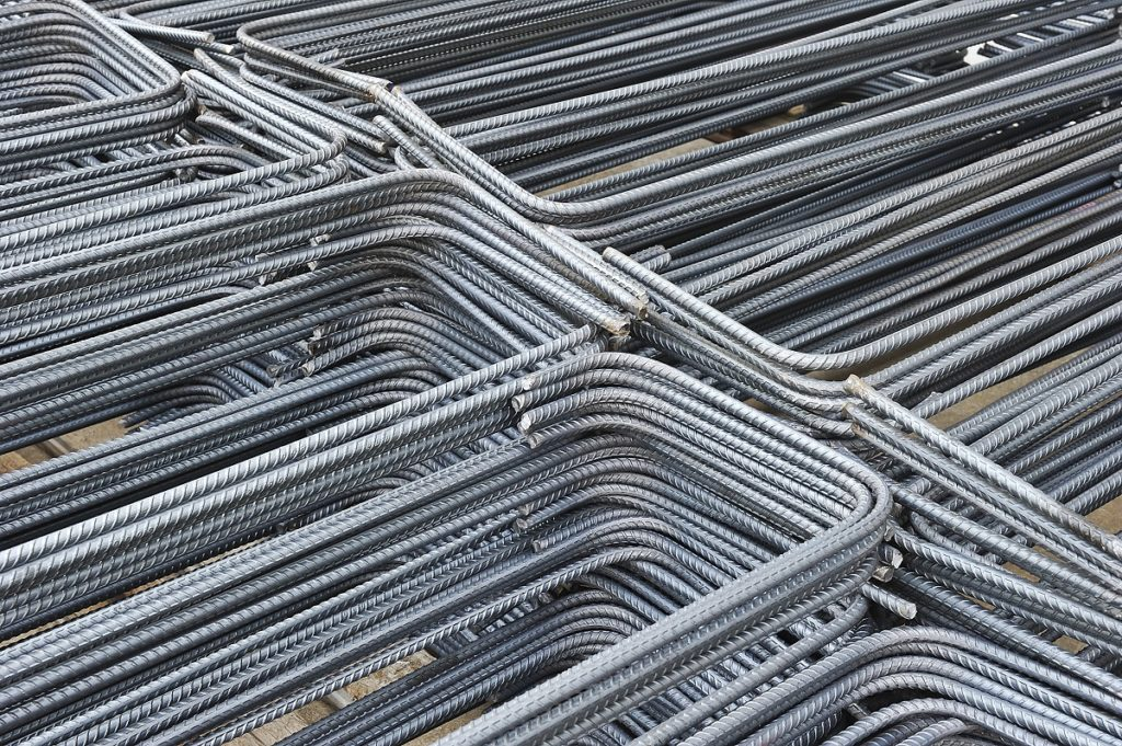 Piles of metal material