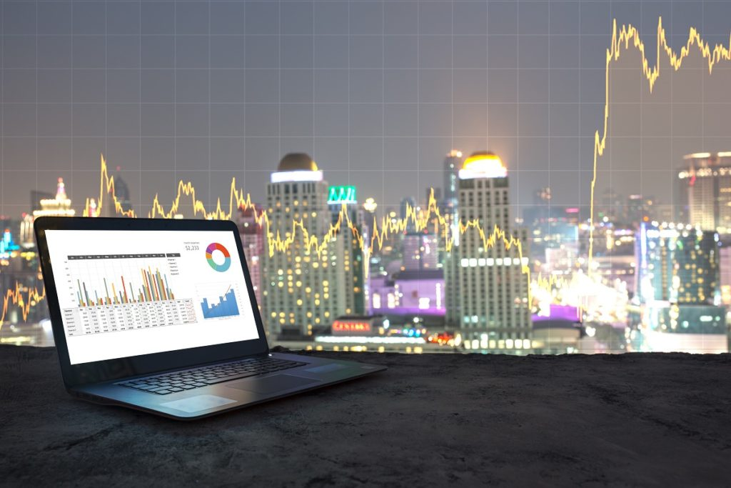 graph on current stocks on a laptop screen
